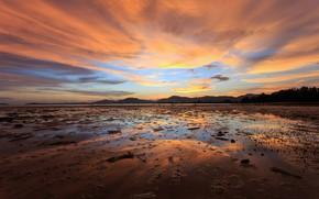 Картинка песок, море, пляж, лето, небо, закат, отражение, summer, beach, sky, sea, sunset, seascape, beautiful, sand, …