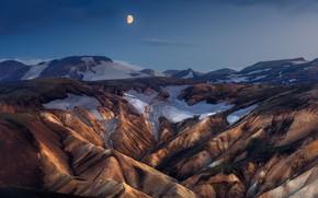 Картинка снег, горы, ночь, скалы, луна, склоны, сумерки, рельеф