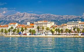 Картинка море, город, набережная, Хорватия, Сплит, Ядран