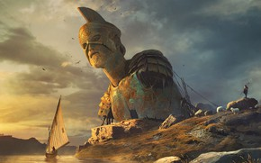 Картинка колосс, лодка, статуя, пастух, Colossus, Vladimir Manyukhin