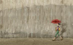 Картинка девушка, стена, живопись, идет, с зонтом