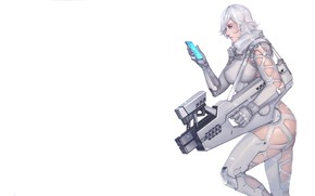 Картинка Girl, Latex, Sexy, Art, White, Machine, Weapons, Weapon, Minimalism, Characters, Ren Wei Pan, Arctic wolf …