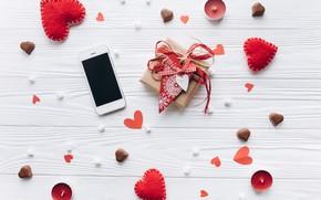 Картинка red, подарок, сердце, сердечки, любовь, romantic, valentine's day, wood, love, heart