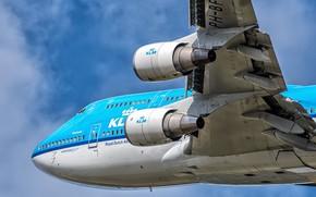 Картинка Самолет, Двигатель, Boeing, Авиалайнер, Boeing 747, KLM, Пассажирский самолёт, Boeing 747-400, Механизация крыла, Royal Dutch …