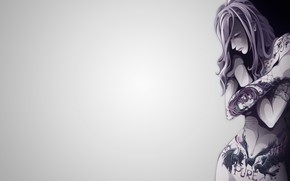 Картинка vector, Girl, minimalism, body, tattoos, illustration, simple background, backgound