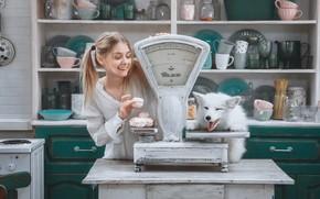 Картинка собака, девочка, весы, Андрей Васильев