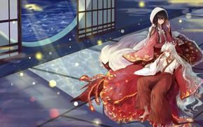 Картинка девушки, аниме, окно, арт, лунный свет, Touhou, Тохо, Тоухоу