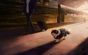 Картинка кот, вокзал, поезд, художник, перон, Эндрю Пальянов, путешествие кота, выгоны