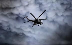 Картинка Небо, Тучи, Вертолет, Армия, Россия, Авиация, ВВС, Ми-28Н, Опустошитель, Ночной охотник, ВВС России, Ми-28, Миля, …