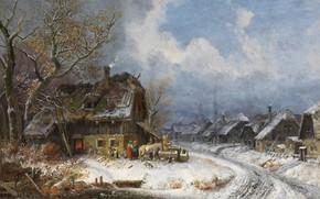 Картинка 1845, oil on canvas, Генрих Бюркель, Winterliches Dorf, Зимняя деревня, Wintry village, Heinrich Bürkel, немецкий …
