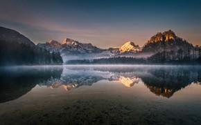 Картинка лес, небо, деревья, горы, озеро, отражение, рассвет, Австрия, Gregor Thelen