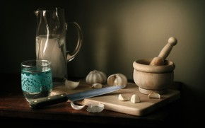 Картинка посуда, натюрморт, пестик, чеснок, ступка