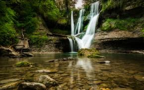 Картинка зелень, лес, деревья, скала, камни, водопад, мох, Испания, кусты, Catalonia, El Sallent