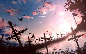 Картинка небо, пейзаж, закат, птицы, природа, кресты, ツチヤ