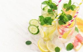 Картинка напиток, лимонад, лед, мята