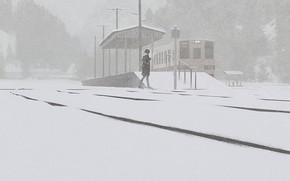 Картинка девушка, поезд, снегопад