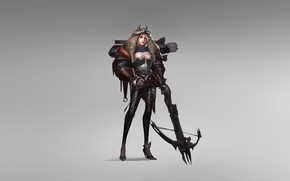 Картинка Girl, Fantasy, Art, Style, Warrior, Arrow, Minimalism, Crossbow, Chen Wang