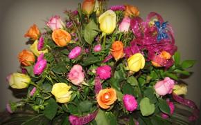 Обои цветы, розы, букет, бантик