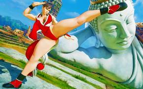 Картинка грудь, рендеринг, ноги, удар, статуя, боец, street fighter, chun-li, capcom