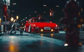 Картинка Красный, Авто, Ночь, Машина, Мазда, Mazda RX-7, RX7, Khyzyl Saleem, by Khyzyl Saleem, Transport & …