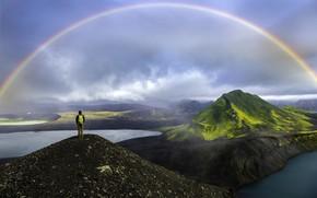 Картинка облака, пейзаж, горы, природа, туман, радуга, озёра, турист
