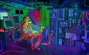 Картинка Минимализм, Робот, Компьютер, Стиль, Фон, Robot, Style, Фантастика, Киборг, Illustration, Minimalism, Cyborg, Characters, Sci-Fi, Cyberpunk, …