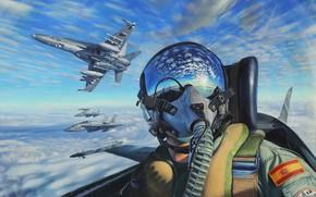 Обои пилот, самолёты, лётчик, живопись, небо, кабина