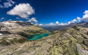 Картинка горы, озеро, панорама