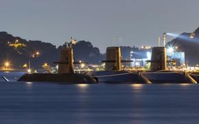 Картинка пристань, вечер, подводные лодки