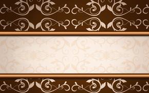 Картинка цветы, текстура, орнамент, коричневый фон