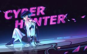 Картинка Девушка, Pink, Неон, Стиль, Girl, Fantasy, Art, Фантастика, Neon, Characters, Cyberpunk, Wire, Wires, AIHONG HUANG, …