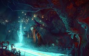 Картинка Природа, Сова, Река, Лес, Мастер, Магия, Fantasy, Nature, Night, Owl, Magic, River, Illustration, Forest, Bastien …