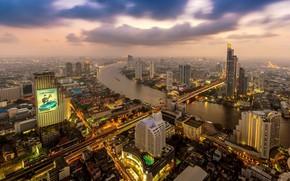 Картинка пейзаж, город, туман, здания, утро, панорама, Таиланд, Тайланд, Бангкок