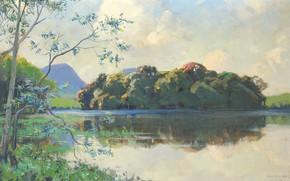 Картинка масло, картина, 1935, Hal Wichers, Хэл Вичерс, Пейзаж в Окрестностях Kertamanah