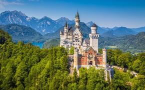 Картинка деревья, горы, замок, Германия, Neuschwanstein, Germany