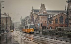 Картинка снег, здания, дома, трамвай, Hungary, Будапешт, Budapest