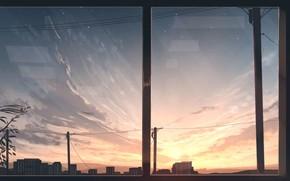 Картинка небо, закат, город, вид из окна
