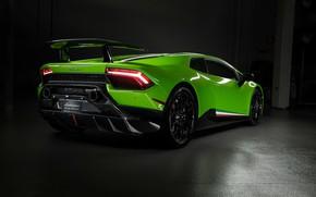 Картинка фары, Lamborghini, суперкар, вид сзади, Performante, Huracan