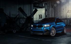 Картинка BMW, Blue, X6M, Vossen, Sight, F86