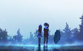 Картинка небо, девочки, зонт