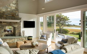 Картинка вилла, интерьер, камин, терраса, гостиная, Katama Bay, by Martha's Vineyard Interior Design