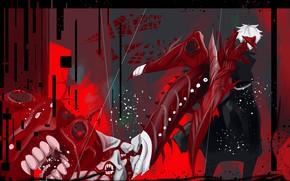 Картинка маска, парень, Канеки Кен, Токийский Гуль: Перерождение, Tokyo Ghoul RE