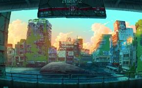 Картинка фантастика, кит, Токио, руны