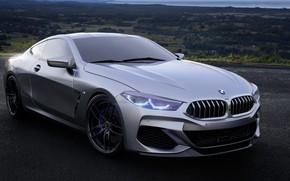 Картинка Авто, BMW, Машина, Серый, Рендеринг, 8-Series, M850i, by Mikhail Nikolaev, Mikhail Nikolaev, BMW 8-Series M850i, …
