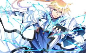 Картинка молния, аниме, арт, Меч, парень, рыцарь, блондин