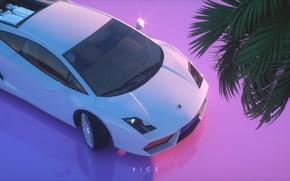 Картинка Авто, Музыка, Lamborghini, Стиль, Силуэт, Gallardo, Арт, Art, Style, Neon, Рендеринг, Lamborghini Gallardo, Illustration, 80's, …