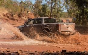 Картинка вода, брызги, серый, Ford, Raptor, пикап, 2018, Ranger