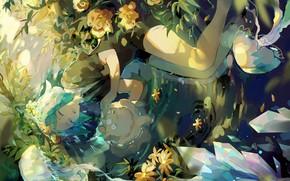 Картинка девушка, кристаллы, Houseki no Kuni, Страна Самоцветов