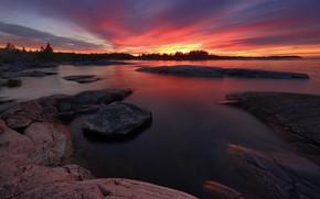 Картинка пейзаж, природа, озеро, камни, рассвет, утро, заря, Ладожское озеро, Ладога, Максим Евдокимов, Шхеры