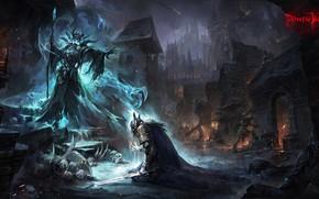 Картинка Ночь, Город, Доспехи, Магия, Воин, Чудовище, Смерть, City, Демон, Fantasy, Monster, Art, Нежить, Undead, Маг, …